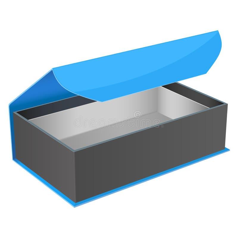 Caja de regalo azul y negra Joyero abierto con el corchete magn?tico Ilustraci?n del vector aislada ilustración del vector