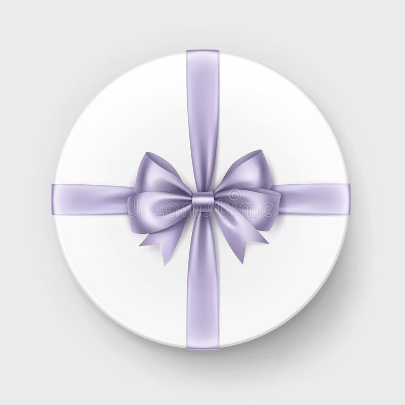 Caja de regalo blanca con el arco de la lila y cinta en fondo stock de ilustración