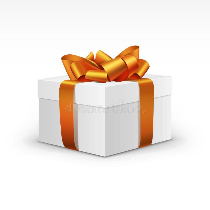 Caja de regalo blanca con la cinta anaranjada aislada ilustración del vector