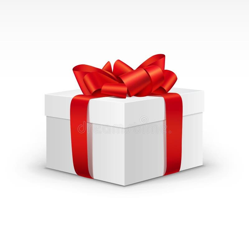 Caja de regalo blanca con la cinta roja brillante aislada ilustración del vector