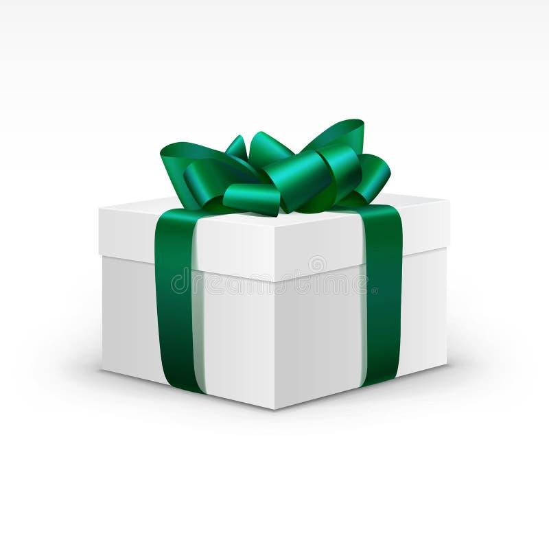 Caja de regalo blanca con la cinta verde aislada ilustración del vector