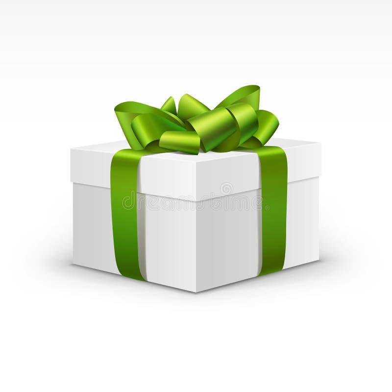 Caja de regalo blanca con la cinta verde clara aislada stock de ilustración
