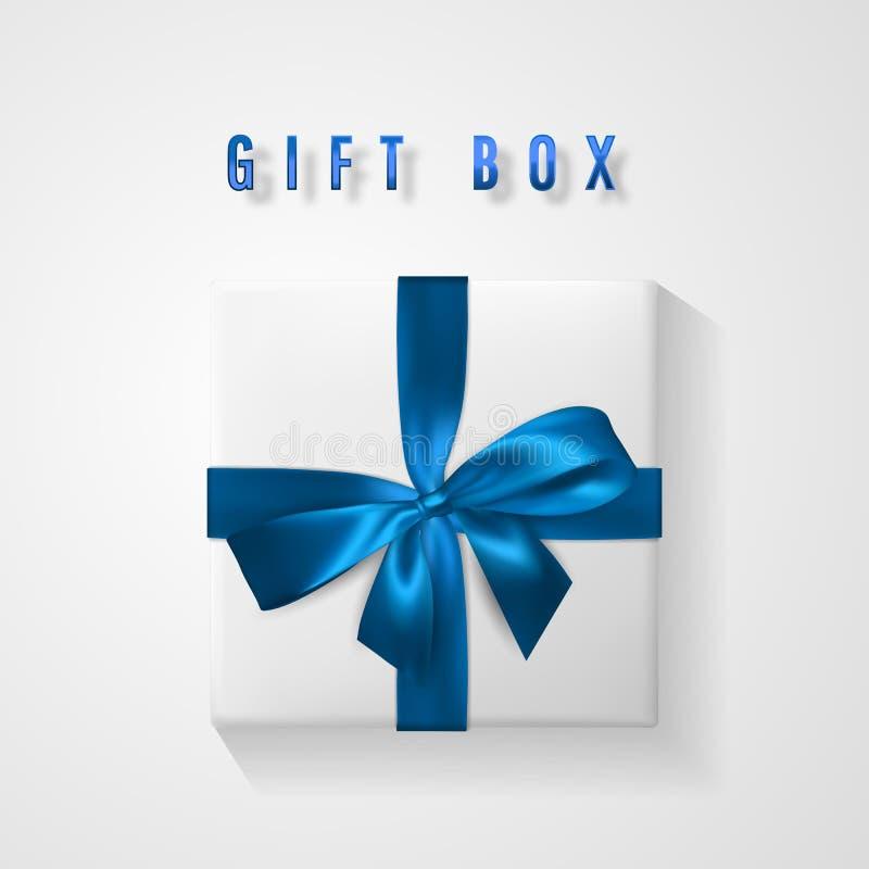 Caja de regalo blanca determinada con la opinión de top azul del arco y de la cinta Elemento para los regalos de la decoración, s stock de ilustración