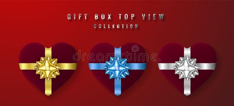 Caja de regalo blanca fijada de la forma del corazón con la opinión de top del arco y de la cinta Elemento para los regalos de la ilustración del vector