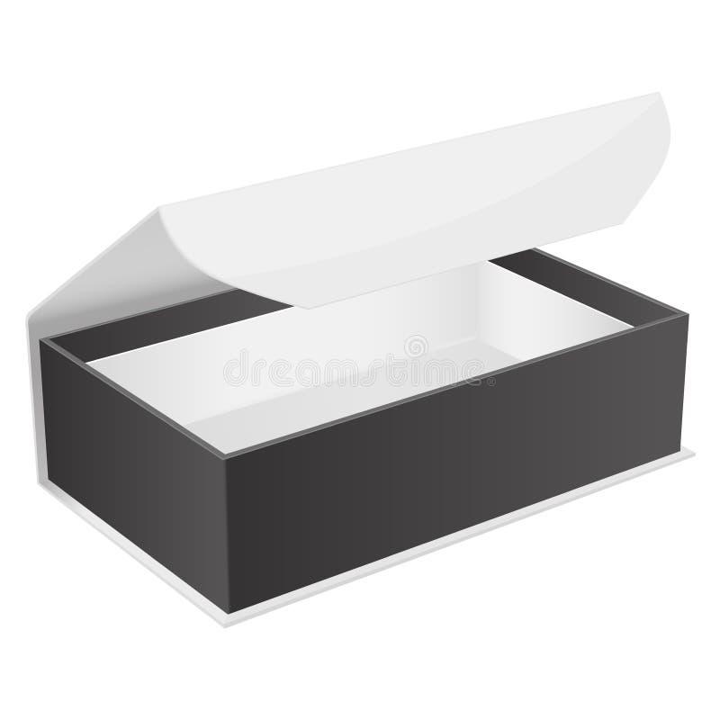 Caja de regalo blanca y negra Joyero abierto con el corchete magn?tico Ilustraci?n del vector aislada stock de ilustración