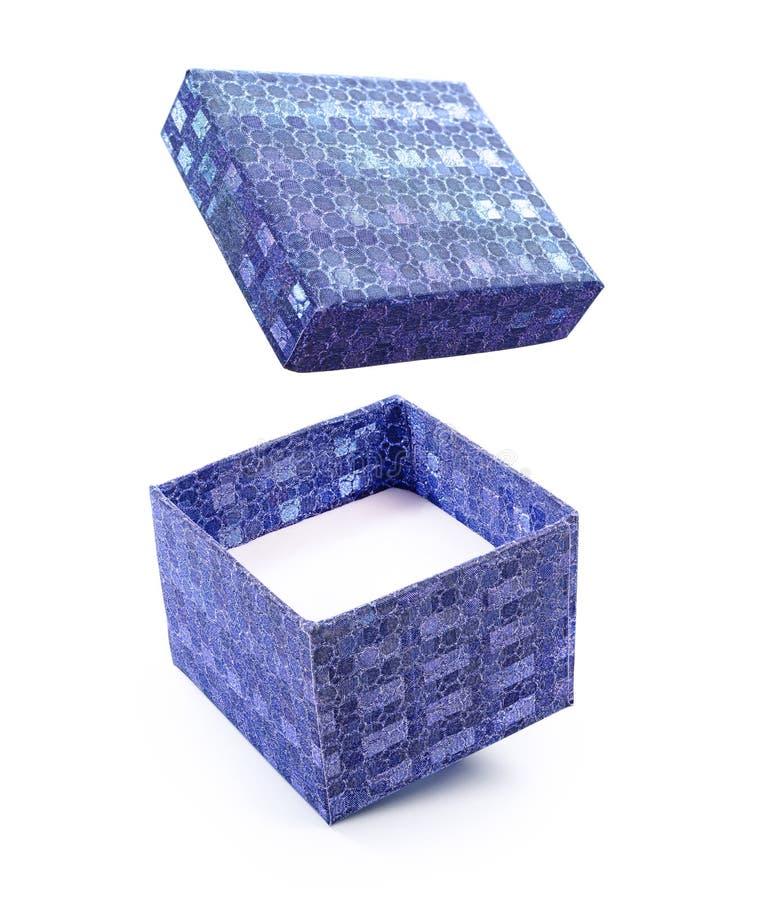 Caja de regalo brillante abierta del vuelo azul hermoso imágenes de archivo libres de regalías