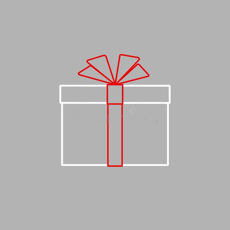 Caja de regalo cerrada con el arco rojo de la cinta Icono plano simple de la caja de regalo del aislante de la línea de tiras Ele libre illustration