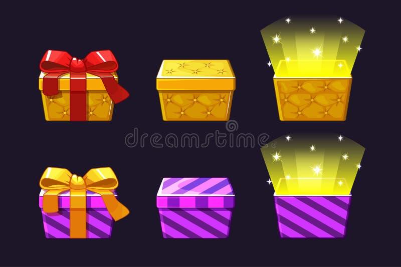 Caja de regalo coloreada abierta y cercana Iconos anaranjados y violetas de los regalos libre illustration