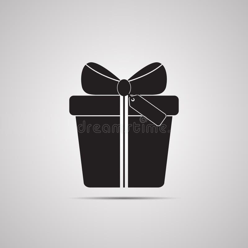 Caja de regalo con el arco, la cinta y la etiqueta para el presente, la sorpresa y la enhorabuena libre illustration