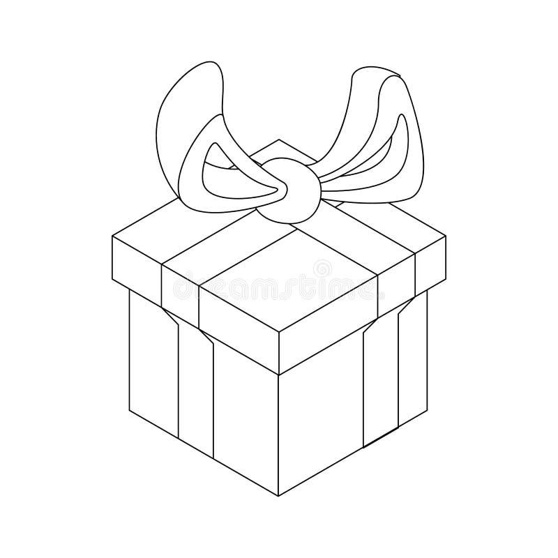 Caja de regalo con el icono del arco de la cinta, estilo del esquema libre illustration