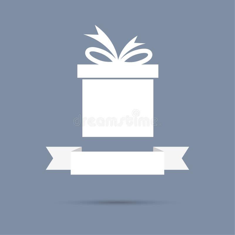 Caja de regalo con la cinta Diseño plano stock de ilustración