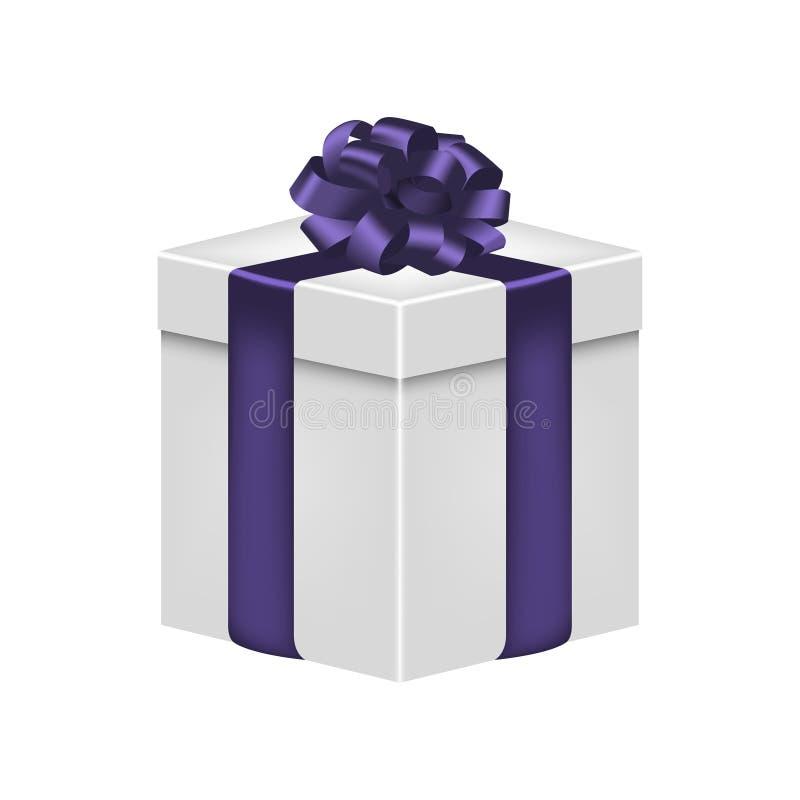 Caja de regalo con la cinta y arco en el color violeta Giftbox realista Vector stock de ilustración