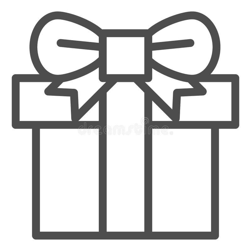 Caja de regalo con la línea icono de la cinta Ejemplo del vector del regalo de Navidad aislado en blanco Actual caja con el esque ilustración del vector