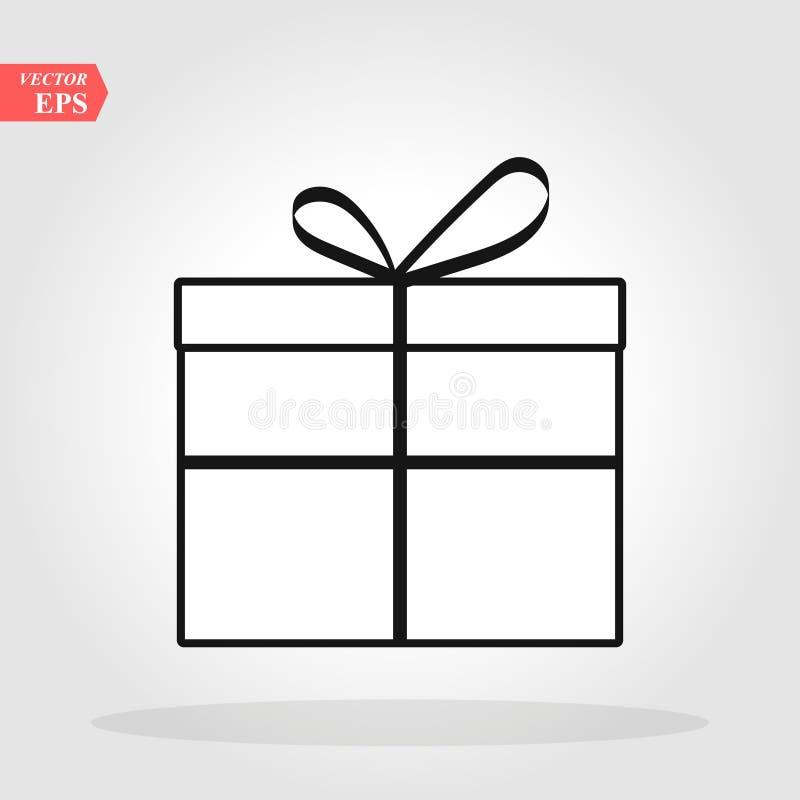 Caja de regalo con la l?nea icono, muestra del vector del esquema, pictograma linear de la cinta del estilo aislado en blanco S?m libre illustration