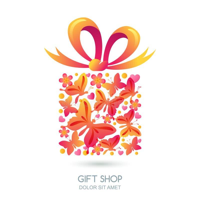 Caja de regalo con las mariposas, los corazones y la cinta del arco ilustración del vector