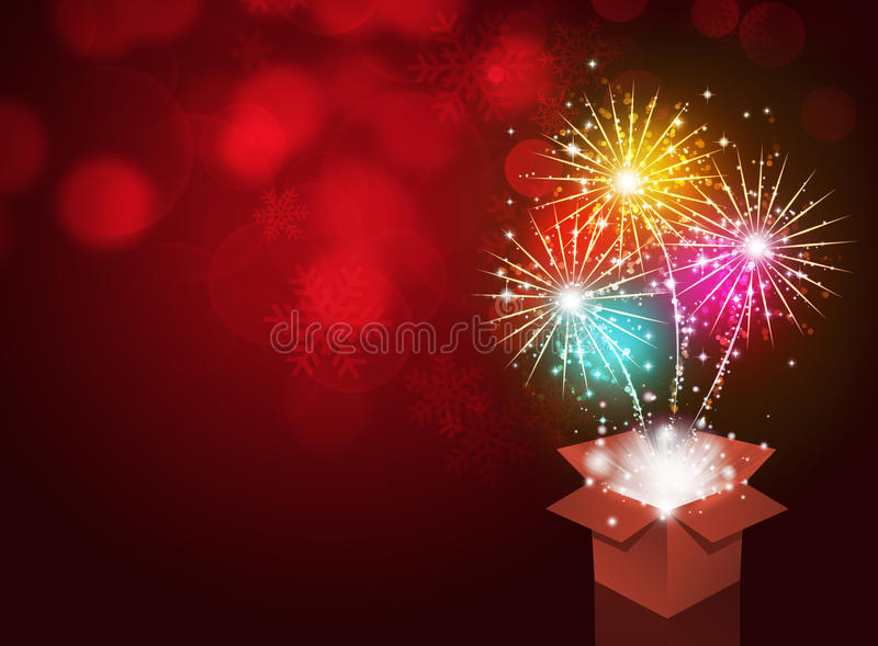 Caja de regalo con los fuegos artificiales ilustración del vector