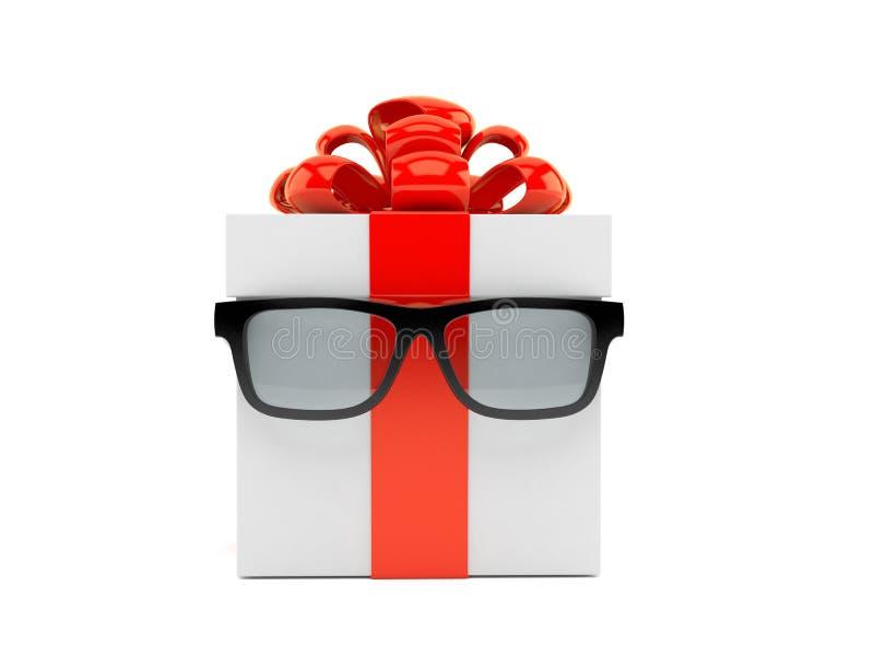 Caja de regalo con los vidrios ilustración del vector