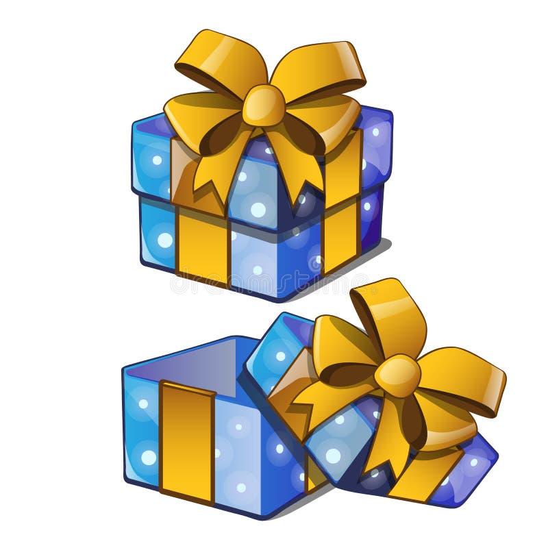 Caja de regalo con un bowknot de oro con color azul de papel envuelto aislada en un fondo blanco Ilustración del vector ilustración del vector