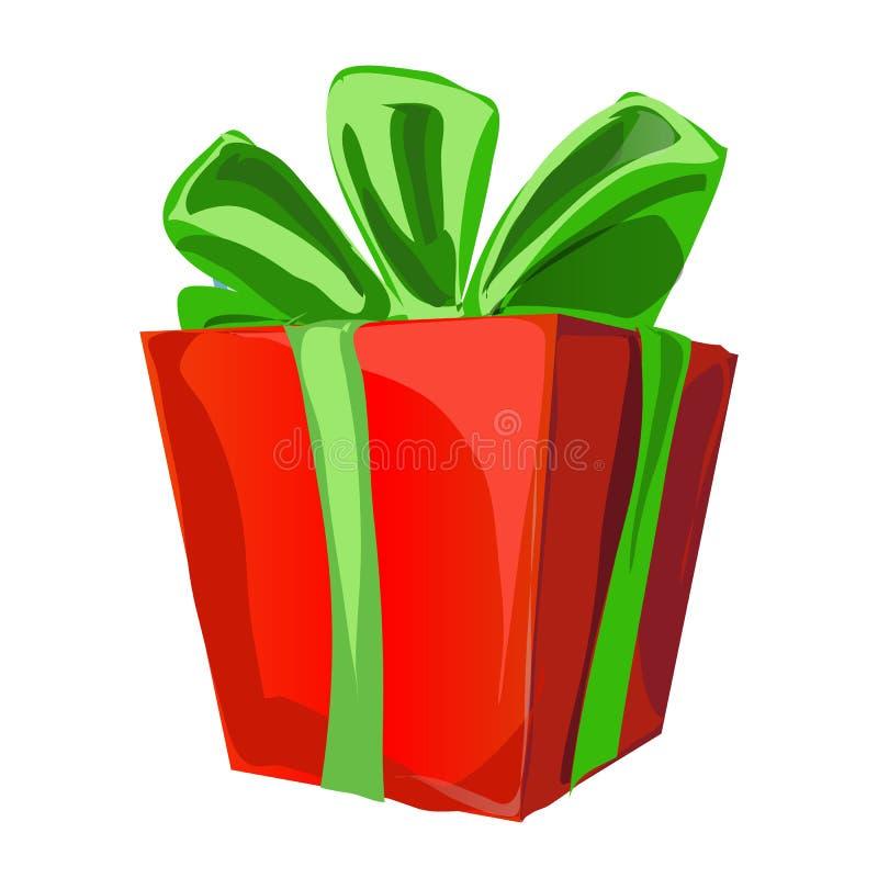 Caja de regalo con un bowknot verde con color rojo de papel envuelto aislada en un fondo blanco Primer de la historieta del vecto stock de ilustración