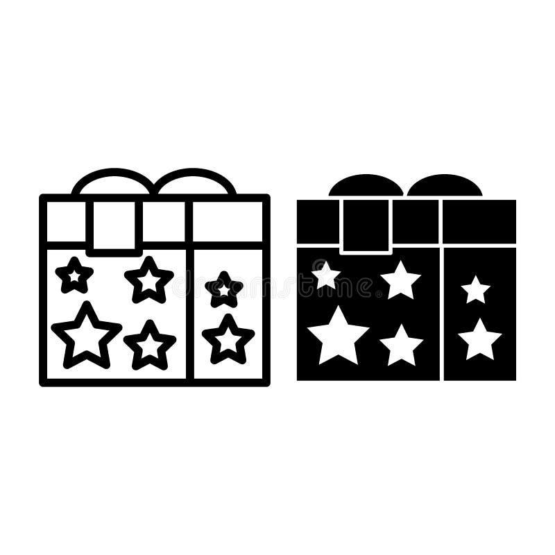 Caja de regalo con una línea de la cinta y un icono del glyph La caja mágica con las estrellas vector el ejemplo aislado en blanc libre illustration