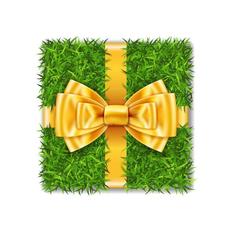 Caja de regalo 3d La opinión superior de la caja de la hierba verde, arco de la cinta del oro aisló el fondo blanco Diseño amisto libre illustration