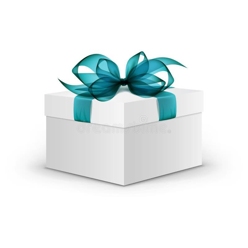 Caja de regalo de la casilla blanca con la cinta azul clara ilustración del vector