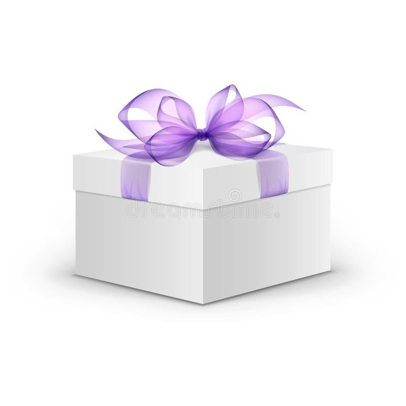 Caja de regalo de la casilla blanca del vector con la cinta púrpura libre illustration