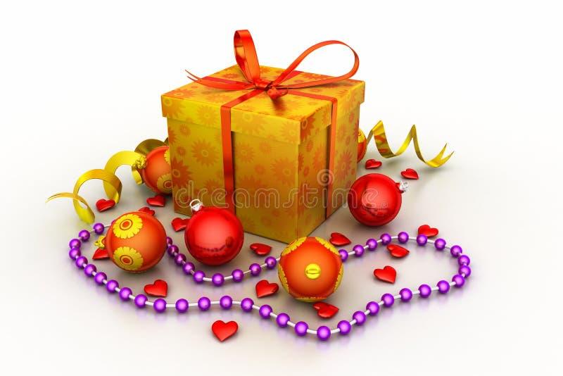 Caja de regalo de la Navidad con las bolas brillantes foto de archivo