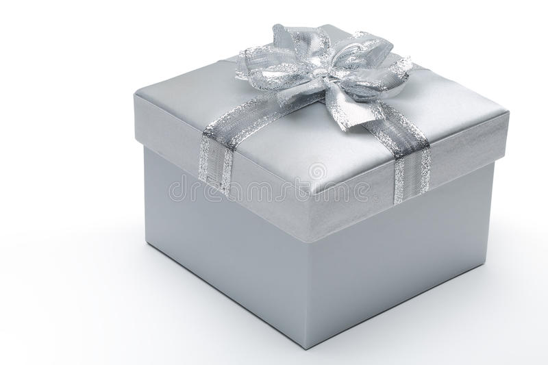 Caja de regalo de plata imagen de archivo