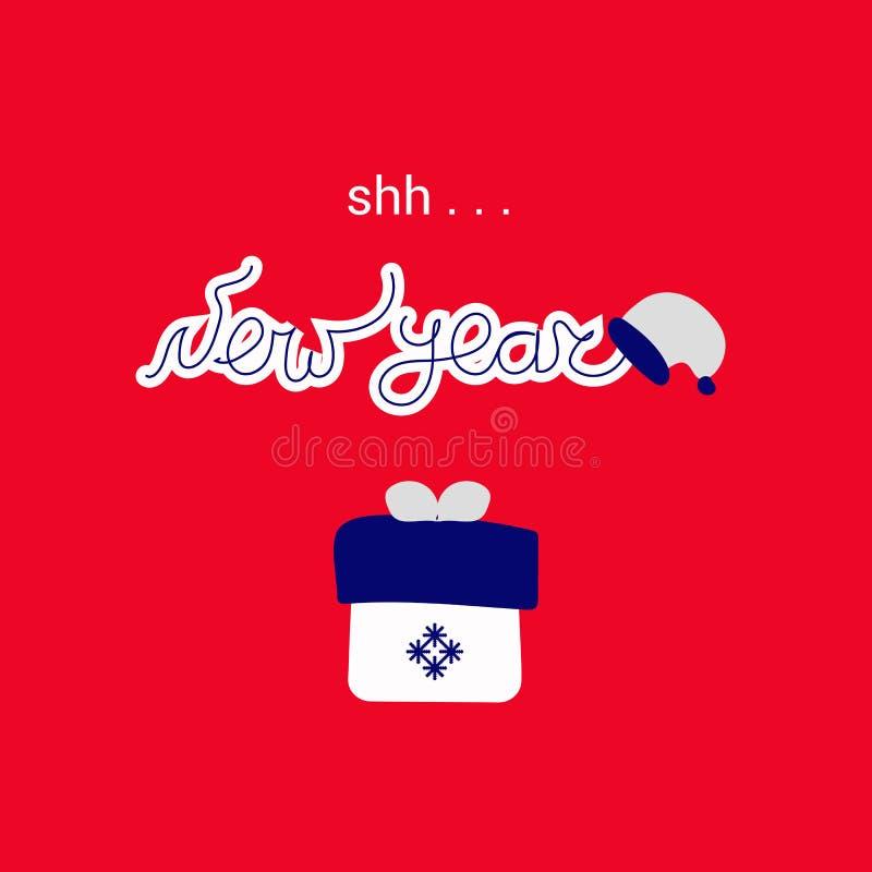 Caja de regalo del concepto de Santa Claus, de la Feliz Navidad y de la celebración del Año Nuevo, del arte del vector y de ejemp stock de ilustración