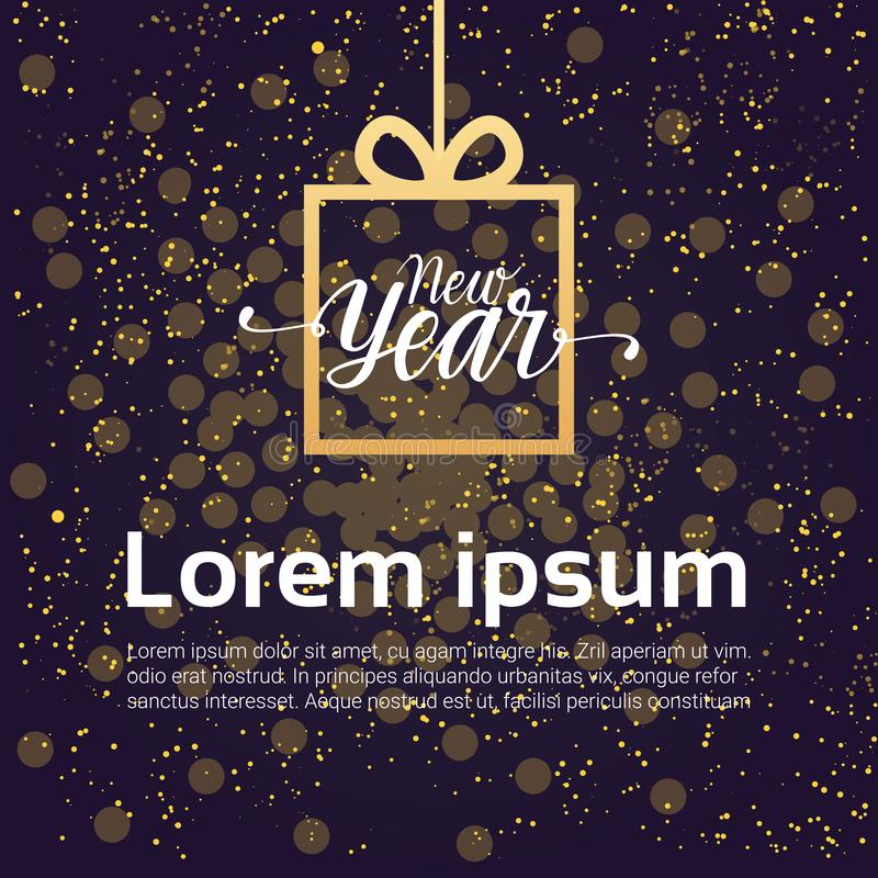 Caja de regalo del diseño de la decoración del fondo del Año Nuevo sobre el cielo nocturno brillante stock de ilustración
