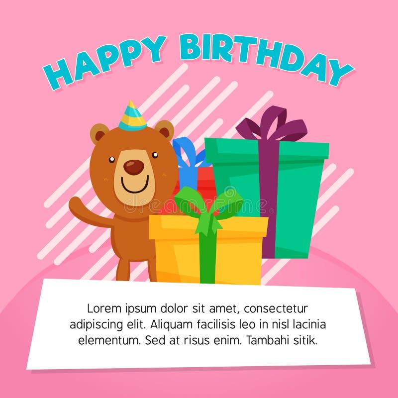 Caja de regalo del feliz cumpleaños con el ejemplo lindo del carácter del oso Modelo de la tarjeta de felicitación libre illustration
