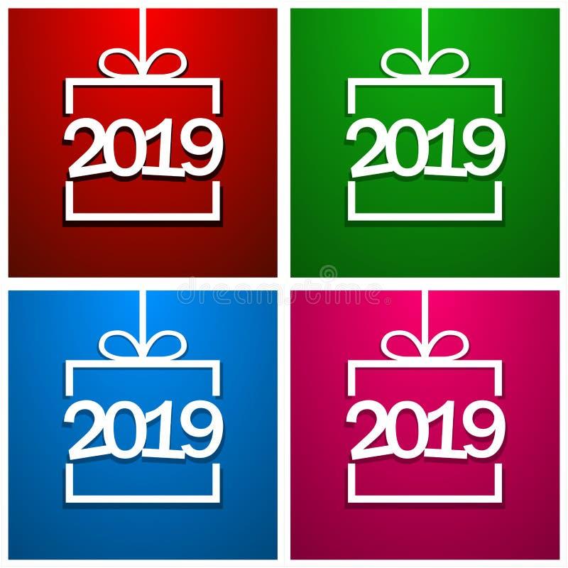 Caja de regalo del Libro Blanco con la tarjeta de felicitación del Año Nuevo 2019 Celebración del Año Nuevo 2019 en caja de regal libre illustration