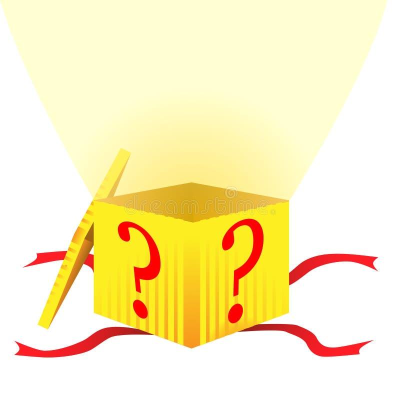 Caja de regalo del misterio stock de ilustración