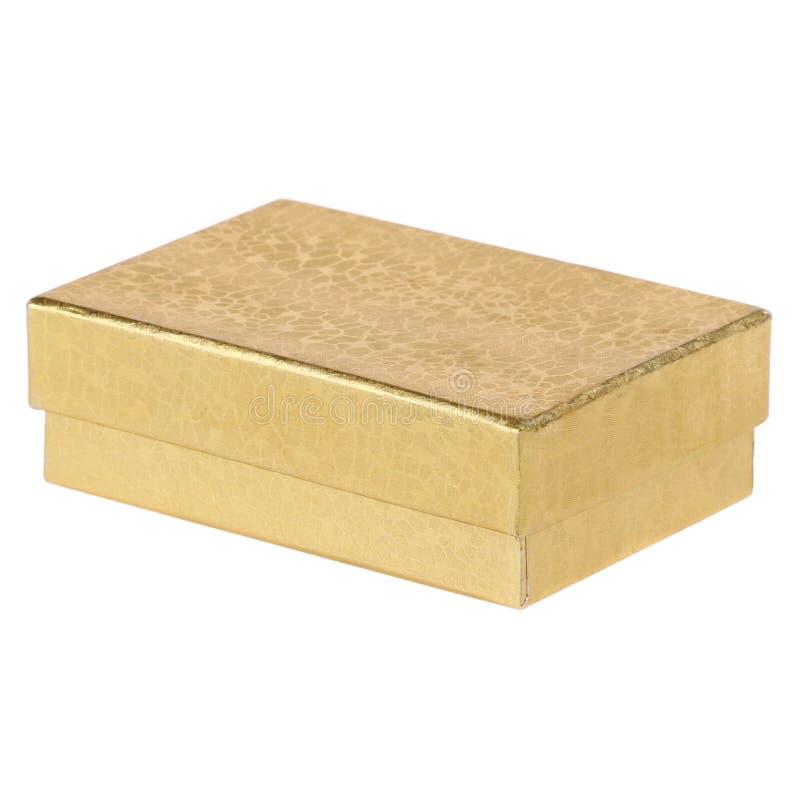 Caja de regalo del oro fotografía de archivo
