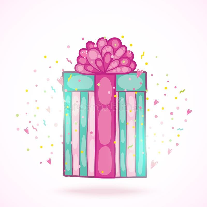 Caja de regalo del presente del feliz cumpleaños con confeti. libre illustration