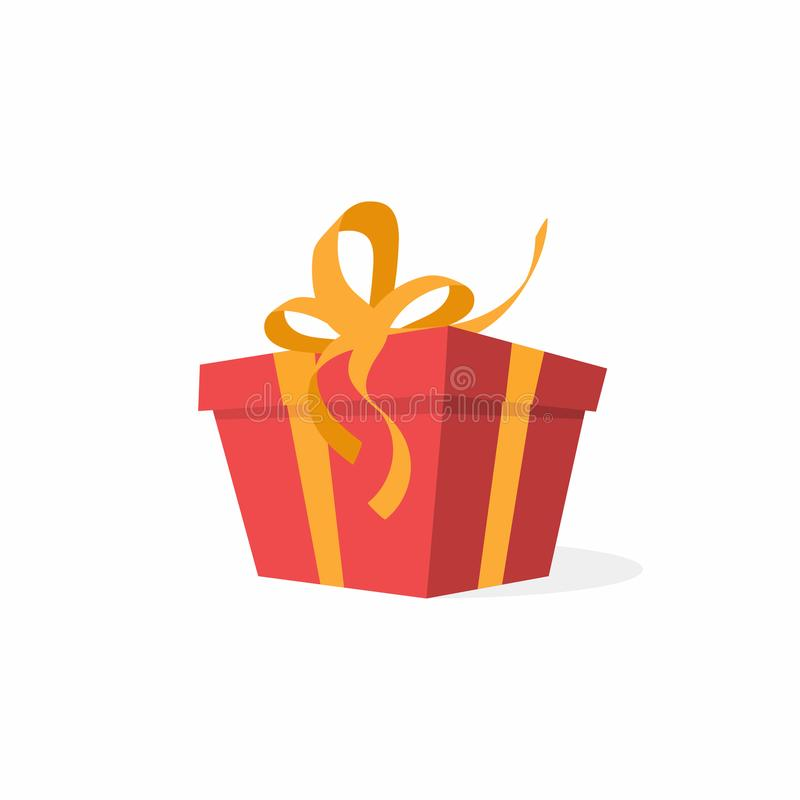 Caja de regalo del vector con el arco y las cintas Caja de regalo roja, actual concepto stock de ilustración