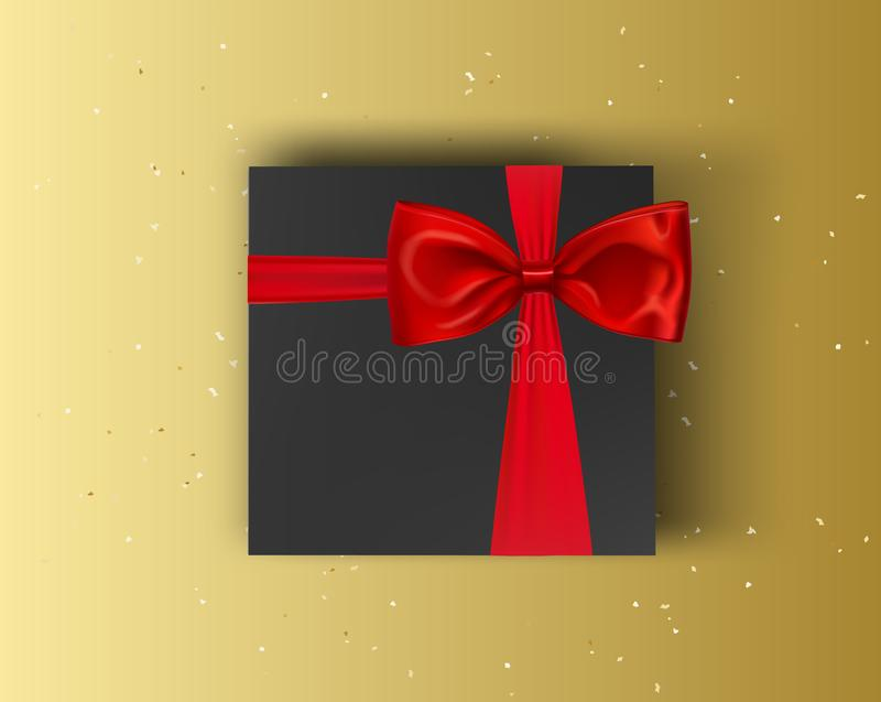 Caja de regalo en blanco, negra con la cinta roja y arco en fondo del oro Mofa del vector encima de la caja libre illustration