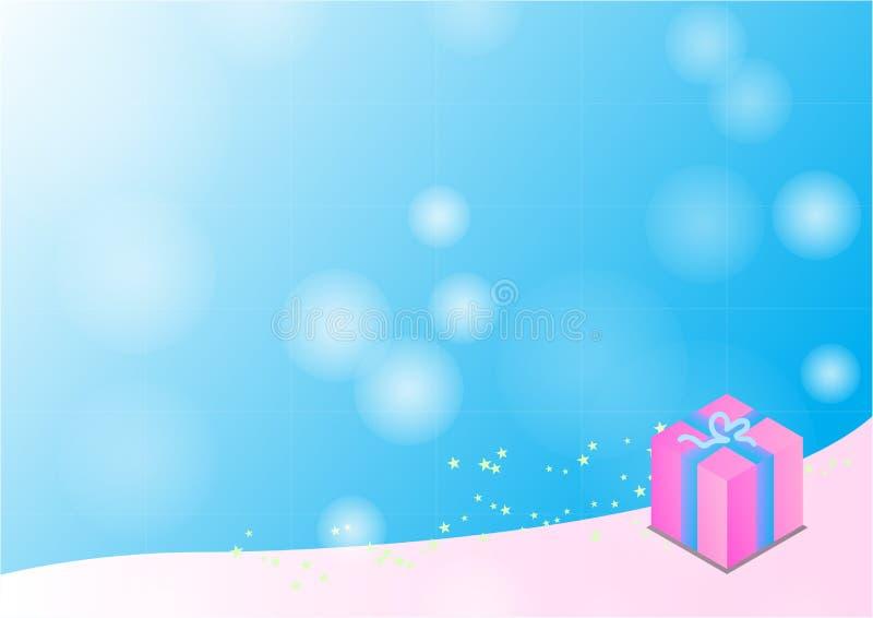 Caja de regalo en el fondo azul, ejemplos del vector stock de ilustración