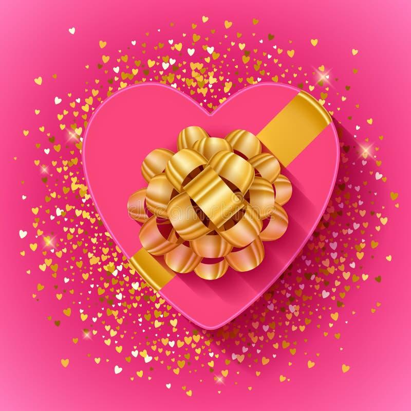 Caja de regalo en forma de corazón de las tarjetas del día de San Valentín del St con la cinta del oro ilustración del vector