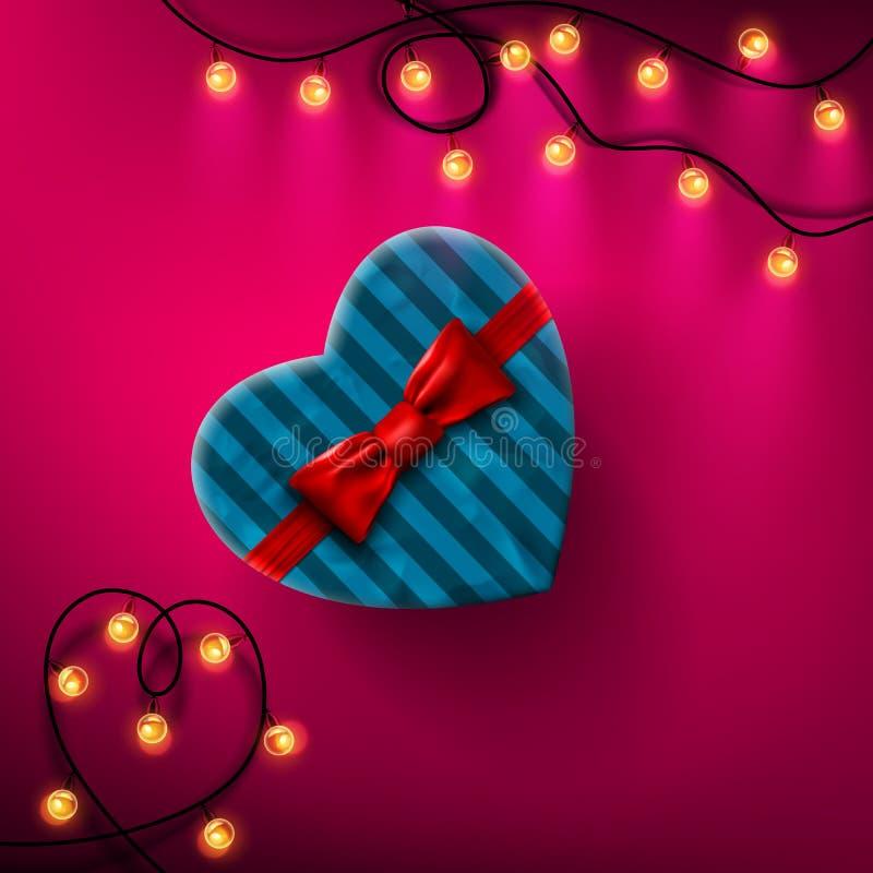 Caja de regalo en forma de corazón del día de tarjetas del día de San Valentín con el arco y la cinta rojos ilustración del vector