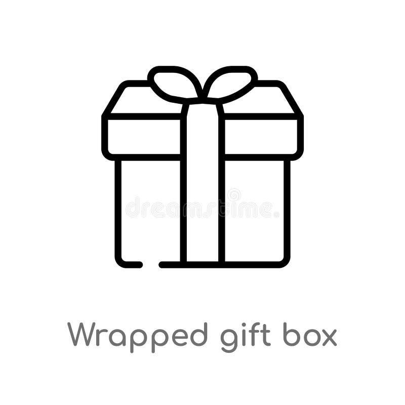 caja de regalo envuelta esquema con el icono del vector de la cinta l?nea simple negra aislada ejemplo del elemento del concepto  stock de ilustración