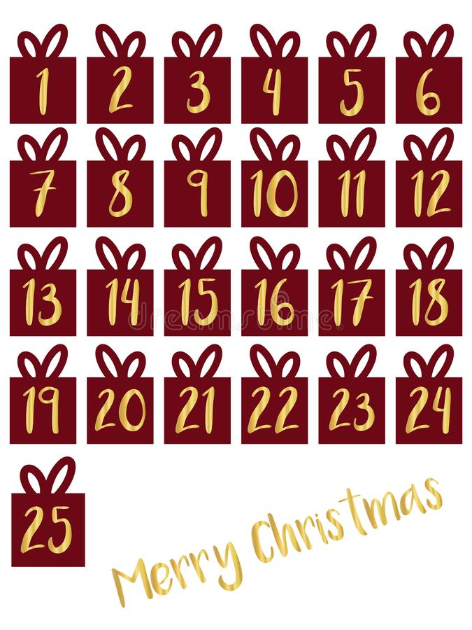 Caja de regalo fijada con el ejemplo del vector de los números de la hoja de oro Calendario del advenimiento Para cuenta descendi ilustración del vector
