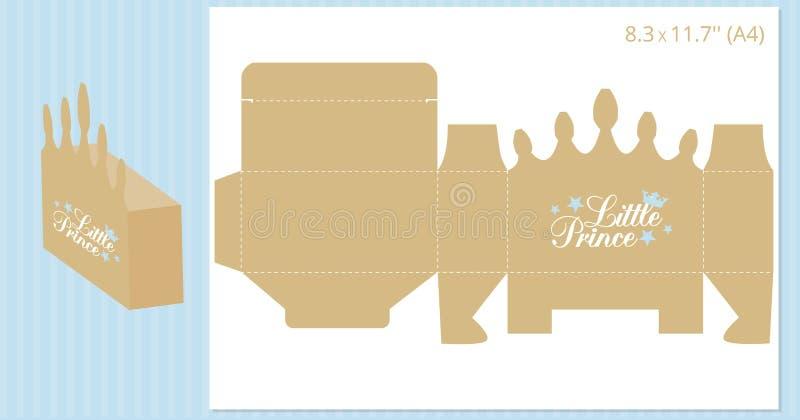 Caja de regalo - forma de la corona del oro Plantilla del vector para el corte hecho a mano y del laser Puede ser utilizado para  ilustración del vector