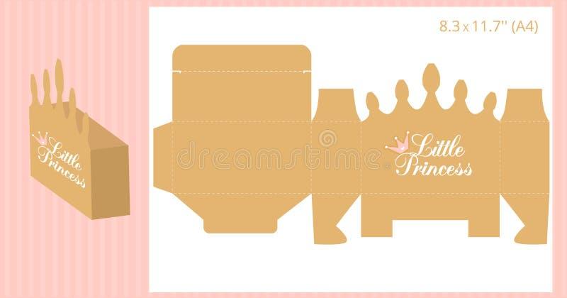 Caja de regalo - forma de la corona del oro Plantilla del vector para el corte hecho a mano y del laser Puede ser utilizado para  stock de ilustración