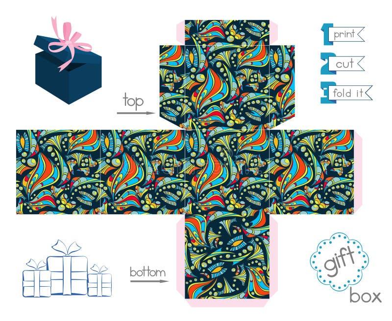 Caja de regalo imprimible con el modelo loco abstracto stock de ilustración