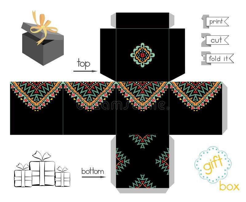Caja de regalo imprimible con el modelo mexicano abstracto libre illustration