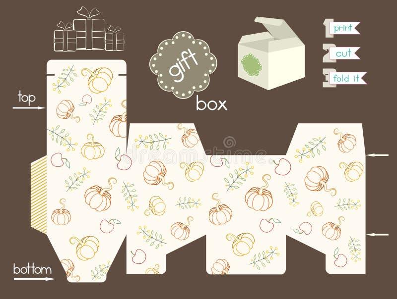 Caja de regalo imprimible con las calabazas y manzanas y flores ilustración del vector