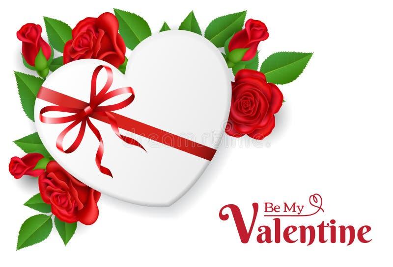 Caja de regalo de la forma del corazón con la rosa del arco y del rojo stock de ilustración