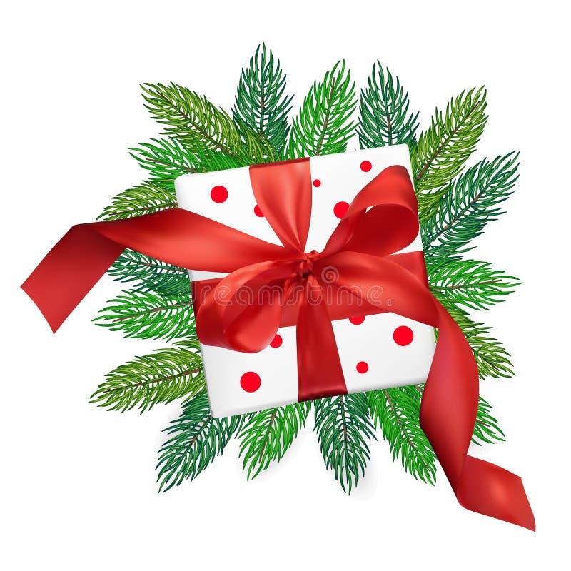 Caja de regalo de la malla del realismo del vector de la Navidad con un arco rojo en ramas de árbol de navidad en fondo blanco ai stock de ilustración